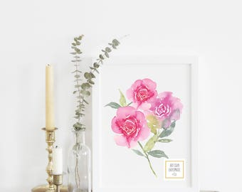 Roses in Bright Pink - With or Without Frame