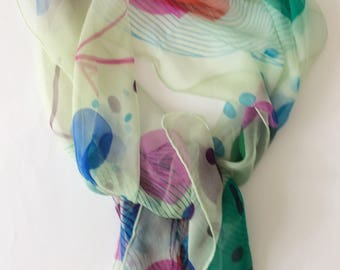Circle Abstract Op Geometric Hand printed silk chiffon scarf mint green one off wearable art