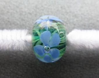Floral Lampwork Bead, Lampwork Focal Bead, Floral Lampwork Focal Bead, Periwinkle Blue, Light Green, Green, Handmade Lampwork Bead - HGD2061