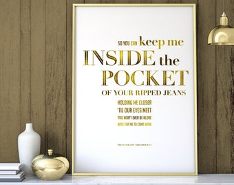 Ed sheeran lyrics etsy real foil print so you can keep me inside the pocket of your ripped stopboris Image collections