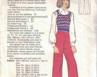 Ladies Trousers Vintage Sewing Pattern by SILVER NEEDLES #20 Sizes 10, 12, 14, & 16 (E2)
