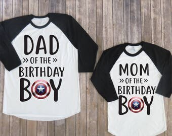 Mom and Dad of the Birthday Boy- Captain America Version, Captain America Birthday Shirt, Kids Clothing, Parents Matching Birthday Shirts