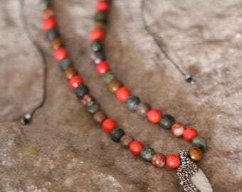 Pearl Pendant with mix of Coral, Jasper and Chrysolite Stones
