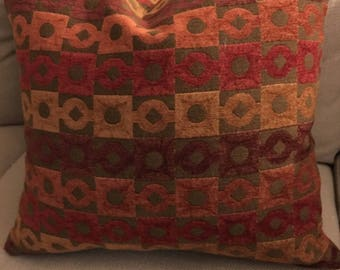 Modern print throw pillow, 20 x 20.  Warm rich colors go with so much!