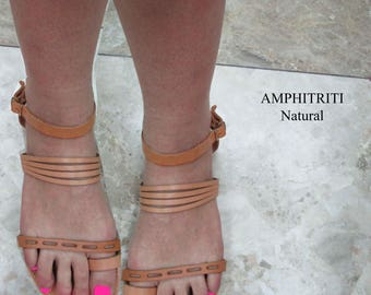 Γυναικεία σανδάλια σε φυσικό καφέ χρώμα από 100% γνήσιο δέρμα,Σανδάλια για τις γυναίκες, ελληνικά χειροποίητα δερμάτινα σανδάλια,AMPHITRITI