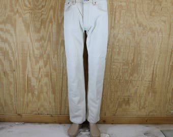 Vintage 1980's LEVI'S 501 Button Fly Ivory Cotton Denim Blue Jeans Red Tab 32 x 31