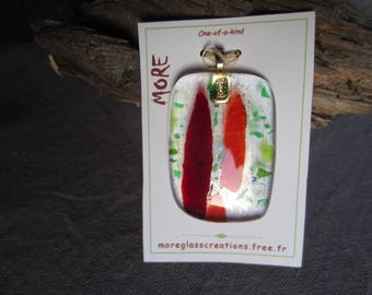 Red, green and orange fused glass pendant transparent with bronze highlights