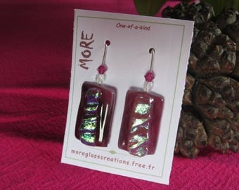 Pink Purple with silver leaf inclusion iridescent glass earrings