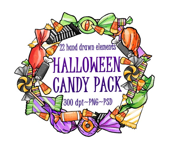 watercolor halloween candy halloween party clipart candy rh etsy com halloween party clip art humor halloween party clipart black and white