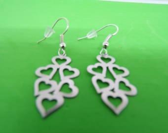 Earrings Silver earrings with heart prints
