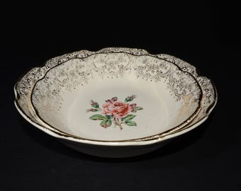 Mid-century (c.1950s), DOMINION CHINA, BRIARD rose, 2 serving bowl, vintage, U.S.A., Pink roses, 22k gold floral chintz, Valentines Day Gift