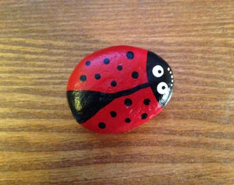 Ladybug Magnet - Hand painted on river rock