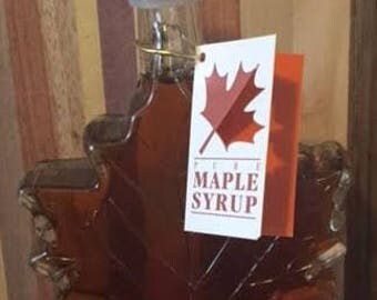 Glass Maple Leaf Jug Pure Grade A Maple Syrup- 8.45 Oz/Thanksgiving Table/Thanksgiving Decor/Pancake Syrup/Glass Decor