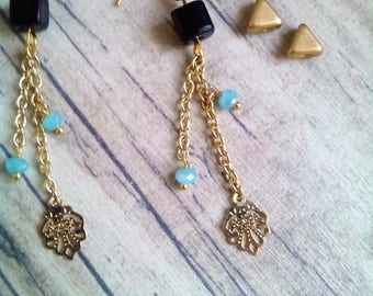 Earrings plated in 18 k gold casacade black Tourmaline and chalcedony