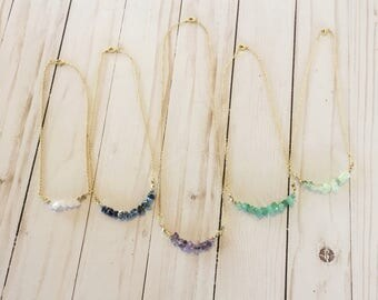Simple Stone Necklace | Crystal Necklace | Dainty Crystals