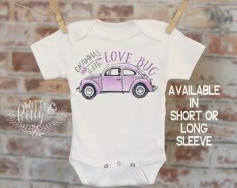 Gramma's Little Lovebug Onesie® in Purple, Cute Onesie, Funny Onesie, Grandma Onesie, Cute Baby Bodysuit, Boho Baby Onesie - 279G