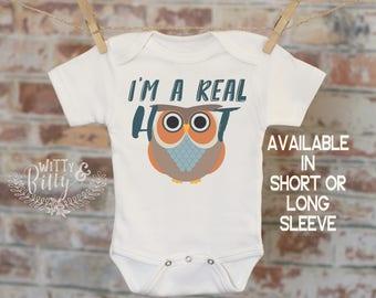 I'm A Real Hoot Owl Onesie®, Silly Onesie, Joke Onesie, Cute Baby Bodysuit, Cute Onesie, Boho Baby Onesie, Woodland Style Onesie - 241I