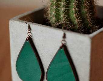 Sierra Emerald Earrings | Leather Earrings | Birthday Gift | Anniversary | Gifts under 25 | Handmade | Gifts for Her