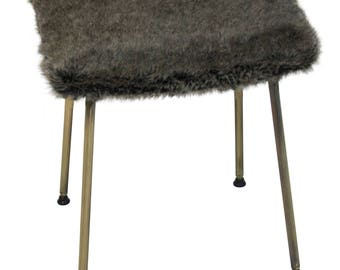 A Rare Stamped Mid Century Retro Faux Fur Kitchen Stool c.1950's