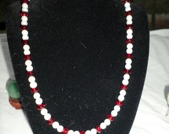 "20"" Red Crystals and Glass Pearls with Matching Earrings"