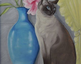 Siamese cat giclee print from acrylic painting.  Cat sitting, with flowers and blue vase in soft colors, cat lovers