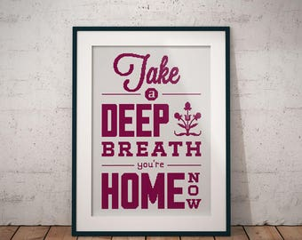 Take a Deep Breath (Welcome Home Sign), Counted Cross Stitch Pattern, PDF Instant Download