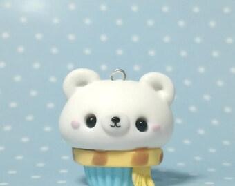 Cupcake de oso polar con bufanda kawaii