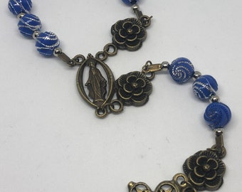 Blue Roman Catholic One Decade Rosary