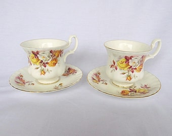 Vintage Royal Albert, Bone China England, Set of Two Porcelain Cups and Saucers, With Beautiful Flower Decor