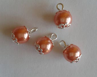 5 pendants 8mm salmon glass pearl beads