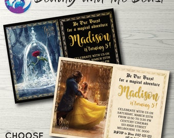 Beauty and the Beast Invitation, Beauty and the Beast Movie Invitation, Beauty and the Beast Birthday Party Disney Princess Belle Invitation