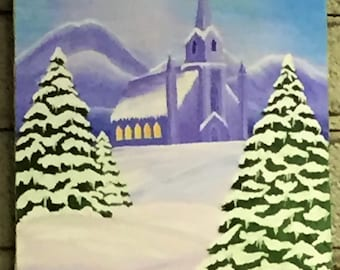 """Acrylic Painting- """"Church in Snow"""" 16 x 20 stretched canvas"""