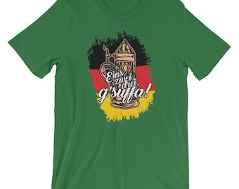Eins, Zwei, Drei, G'suffa German Oktoberfest Beer Drinking Unisex T-shirt