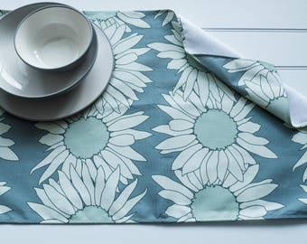 Quality Tea Towel Made from 100% Cotton in Sunflower Teal Pattern
