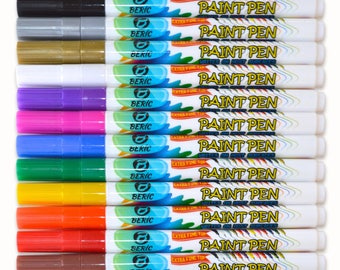Paint Pens by Beric 12 pack, Water based Paint Marker, Extra Fine Point, Writes on Almost Anything, Water/Sun Resistant, Fast Drying Colors