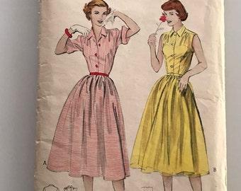 1950s shirtdress pattern, Butterick 6071, bust 30