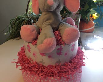Two Tier Diaper Cake for a girl