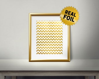 Zigzag Pattern, Christmas Pattern, Real Gold Foil Print, Merry Christmas And Happy New Year, 2018, Gold Wall Art, Decor, Holiday Decoration,