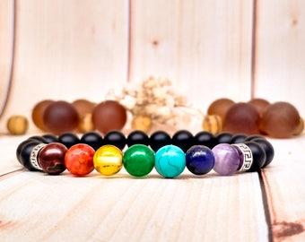 Coworker gift Chakra bracelet Rainbow bracelet Chakra beads Chakra stones Chakra jewelry 7 chakra Colorful Multicolor gemstones Yoga