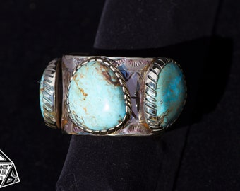 Chunky | Handmade | Brass | Sterling Silver | Wide | 3 Stone | Hand Stamped | Kingman | Turquoise | Statement | Cuff | Blue Turquoise