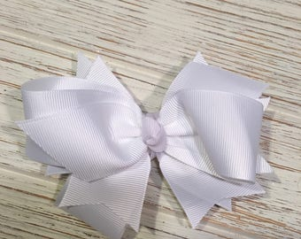 "5"" White hair bow, white hairbow, white hair clip, solid white hair bow, solid white hairbow, white bow"