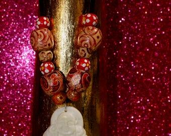 Chinese White Jade Laughing Buddha Wooden Beaded Vegan Adjustable Handmade Necklace