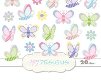 20 Butterfly & Flowers Clipart Digital Printable Scrapbooking, Butterflies Clipart