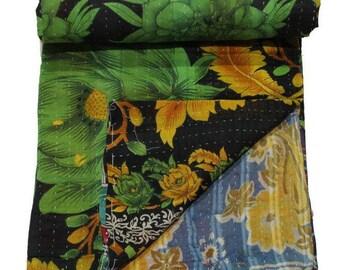 Green Old Vintage Reversible Kantha Quilt Handmade Cotton Kantha Quilt Handmade Blanket cotton Reversible Kantha Quilt 34