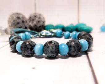 Agate blue stone gift bracelet ribbon Clothing Beauty Gemstone blue gift Blue agate Luck Sea stones jewelry Stone agate blue bangle