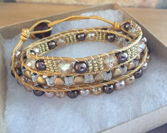 Brown & Gold Wrap Bracelet