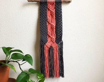 Navy Blue and Coral Pink Macrame Wall Hanging, Medium Woven Wall Hanging, Tapestry, Boho Hippie Tapestry Wall Hanging