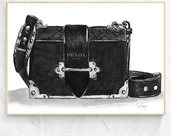 Prada bag illustration poster - printable download