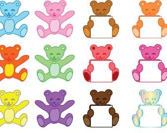 Mixed Colourful Baby Bear Art, Newborn, Cute - DIGITAL ONLY - Vector + PNG