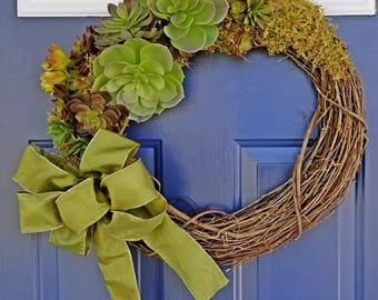 Succulent cactus wreath southwest handmade all year high quality wreath with moss and large green silk bow with gold accent on grapevine